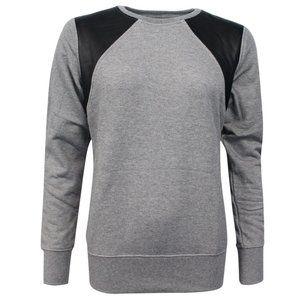 Nike Leather Crewneck Long Sleeve Gray Sweatshirt